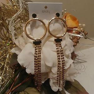 2/$10 NWT! Kate Landry Blk & Gold chain earring